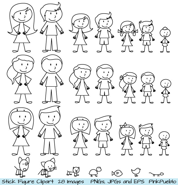 ... Stick People Family and Pets Clipart Clip Art - Commercial.