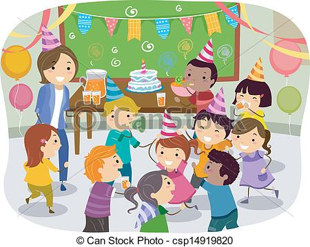 ... Stickman Kids School Birthday Party - Illustration of.