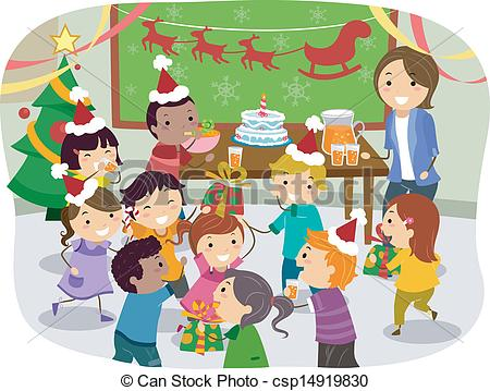 Stickman Kids School Christma - Christmas Party Clip Art