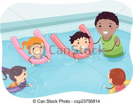 Stickman Kids Swimming . - Kids Swimming Clipart