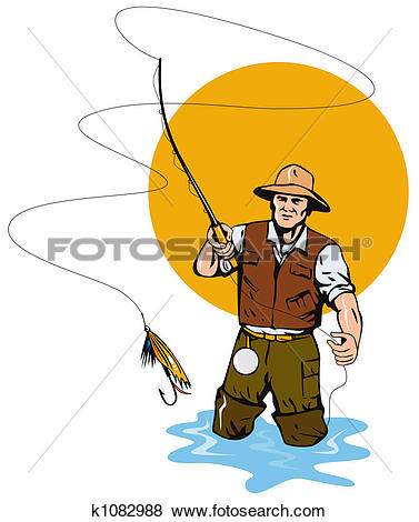 Stock Illustration - Fly fishing. Fotosearch - Search EPS Clip Art, Drawings, Wall