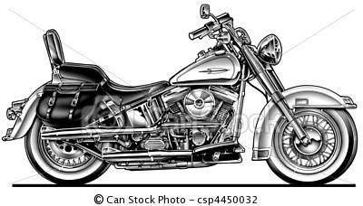 Stock Illustration - Harley Hawg Motorcycle - stock illustration, royalty free illustrations, stock clip art icon, stock clipart icons, logo, line u2026