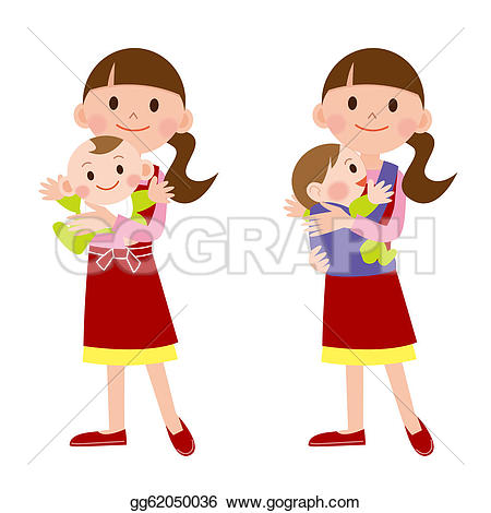 Stock Illustration - Mother and baby / babysitter. Clip Art gg62050036