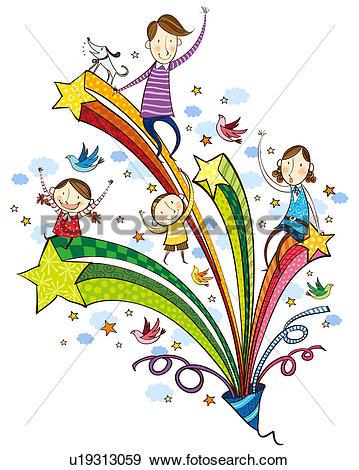 Stock Illustration of Family celebrating birthday