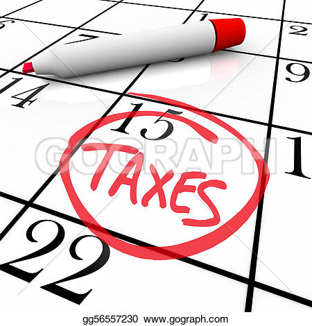 Stock Illustration - The big tax day, the 15th, is circled on a white calendar with a red marker. Clipart Drawing gg56557230