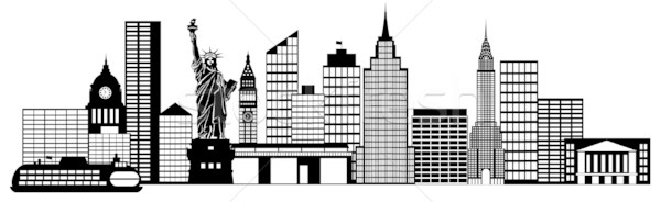 Stock photo: New York City Skyline Panorama Black and White Silhouette Clip Art Illustration