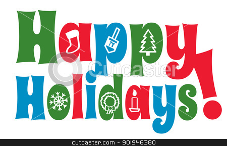 Stock Vector Clipart The Greeting Happy Holidays With Various Holiday