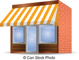 ... Storefront Awning in yellow - vector illustration of.