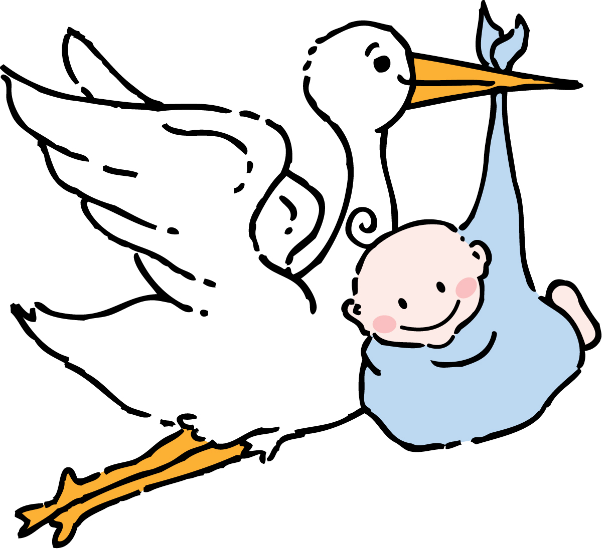 Stork And Baby Clipart .
