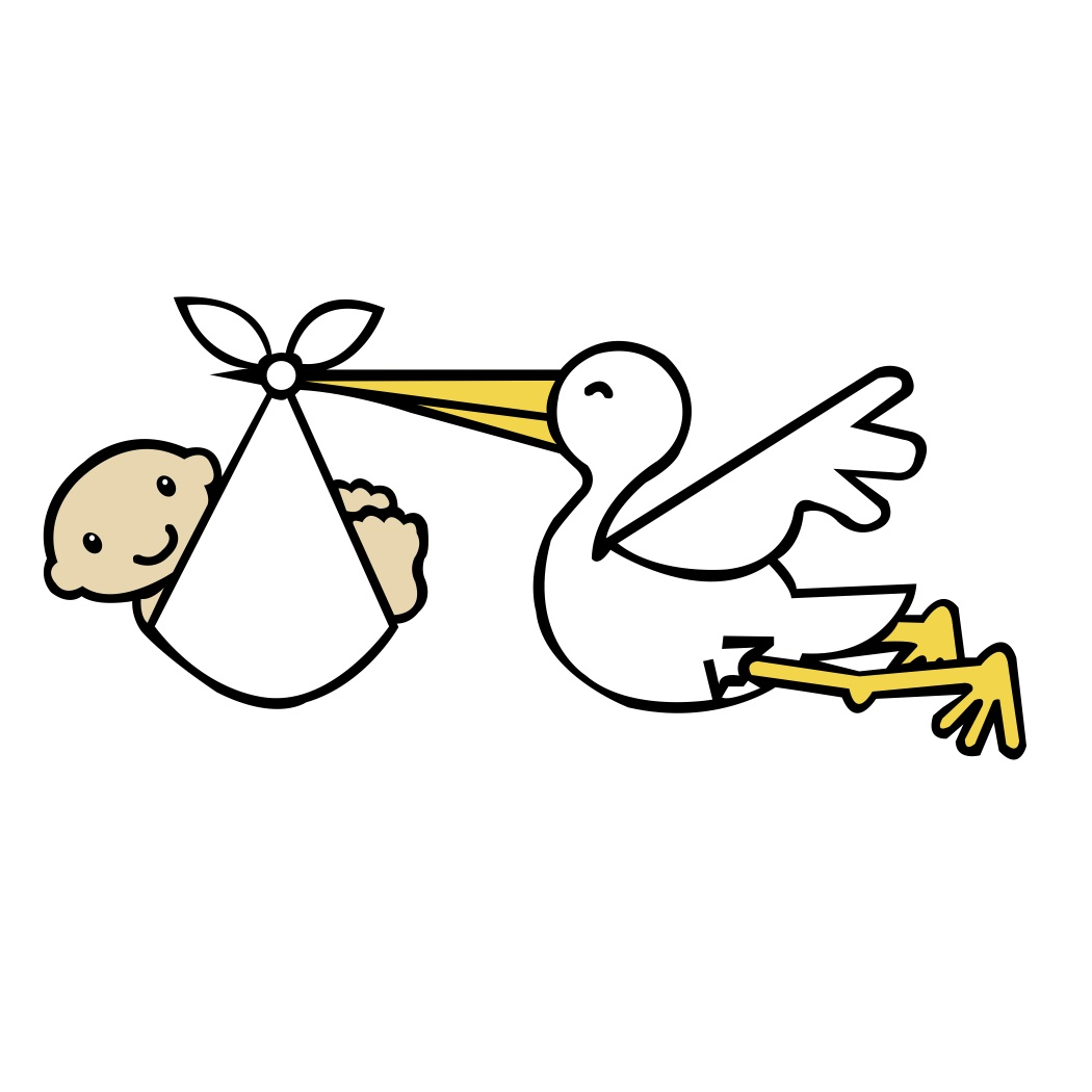Stork Carrying Baby - Clipart .