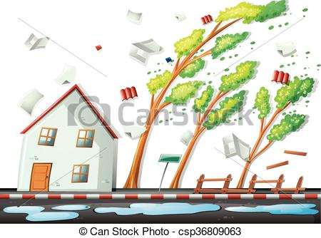 Heavy storm in the city illustration