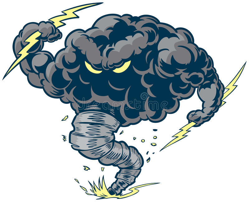 Vector Cartoon Clip Art Illustration Of -Vector cartoon clip art illustration of a tough thundercloud or storm cloud  mascot with lightning bolts and a tornado funnel kicking up dust and debris.-14