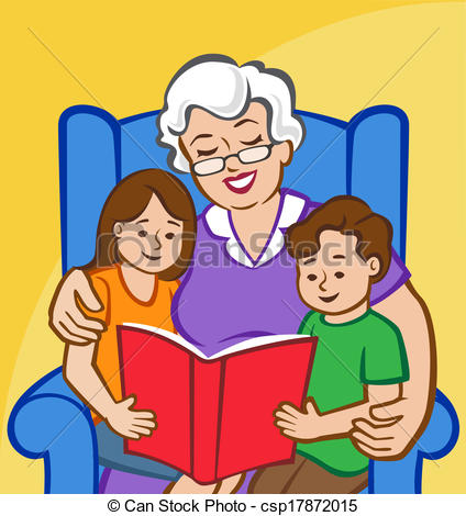 ... Story Time With Grandma - Illustrati-... Story Time with Grandma - Illustration of a Grandmother.-19