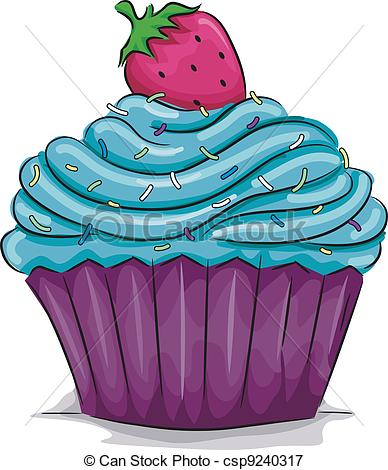 ... Strawberry Cupcake - Illustration of a Cupcake with a.