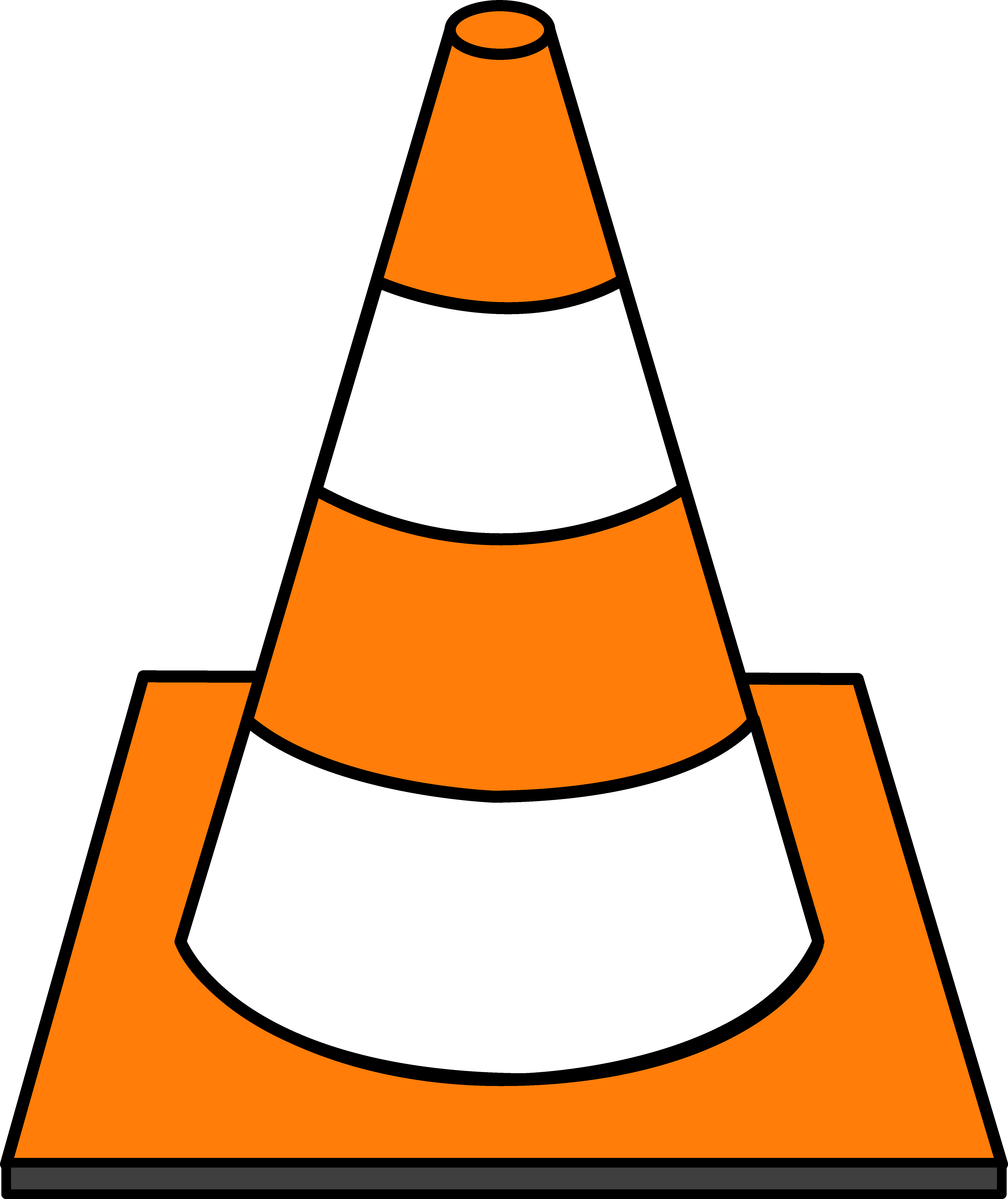 Striped Traffic Cone - Free Clip Art