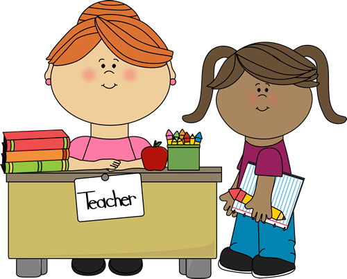 Student at Teachers Desk - Free Teacher Clipart