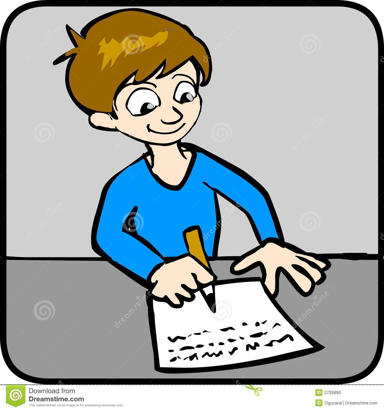 Student Doing Homework Clipart