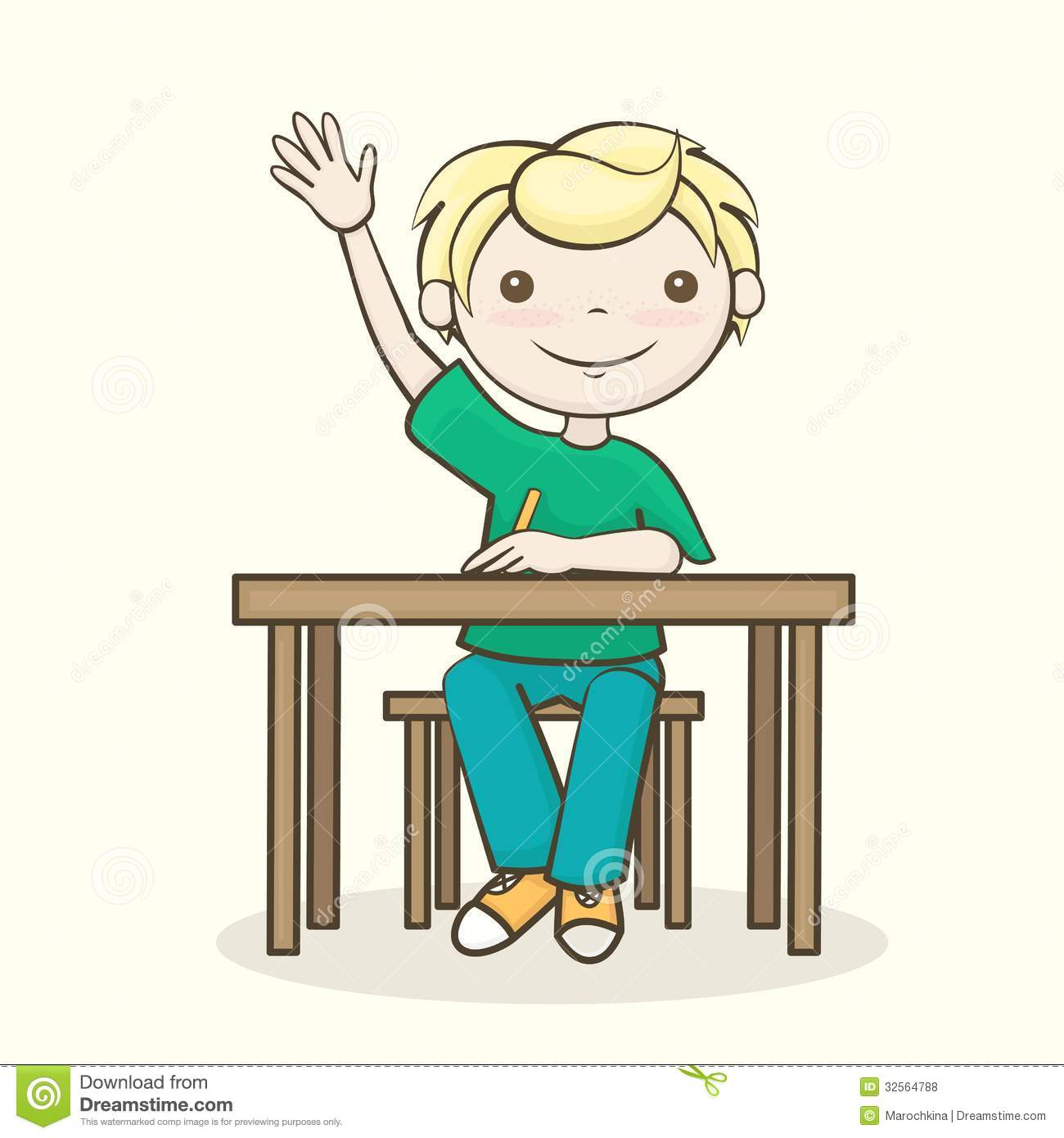 Student raise your hand . - Student Raising Hand Clipart