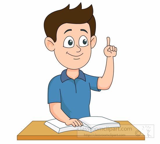 student raising hand finger in classroom clipart. Size: 97 Kb