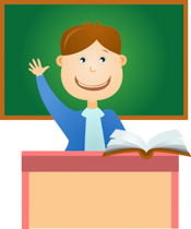 Student Sitting At Desk Raising His Hand In Classroom Clipart Size: 99 Kb