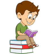 student sitting on stack book - Clip Art Of Books