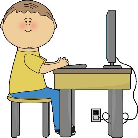 Student Using Computer - Computer Clip Art