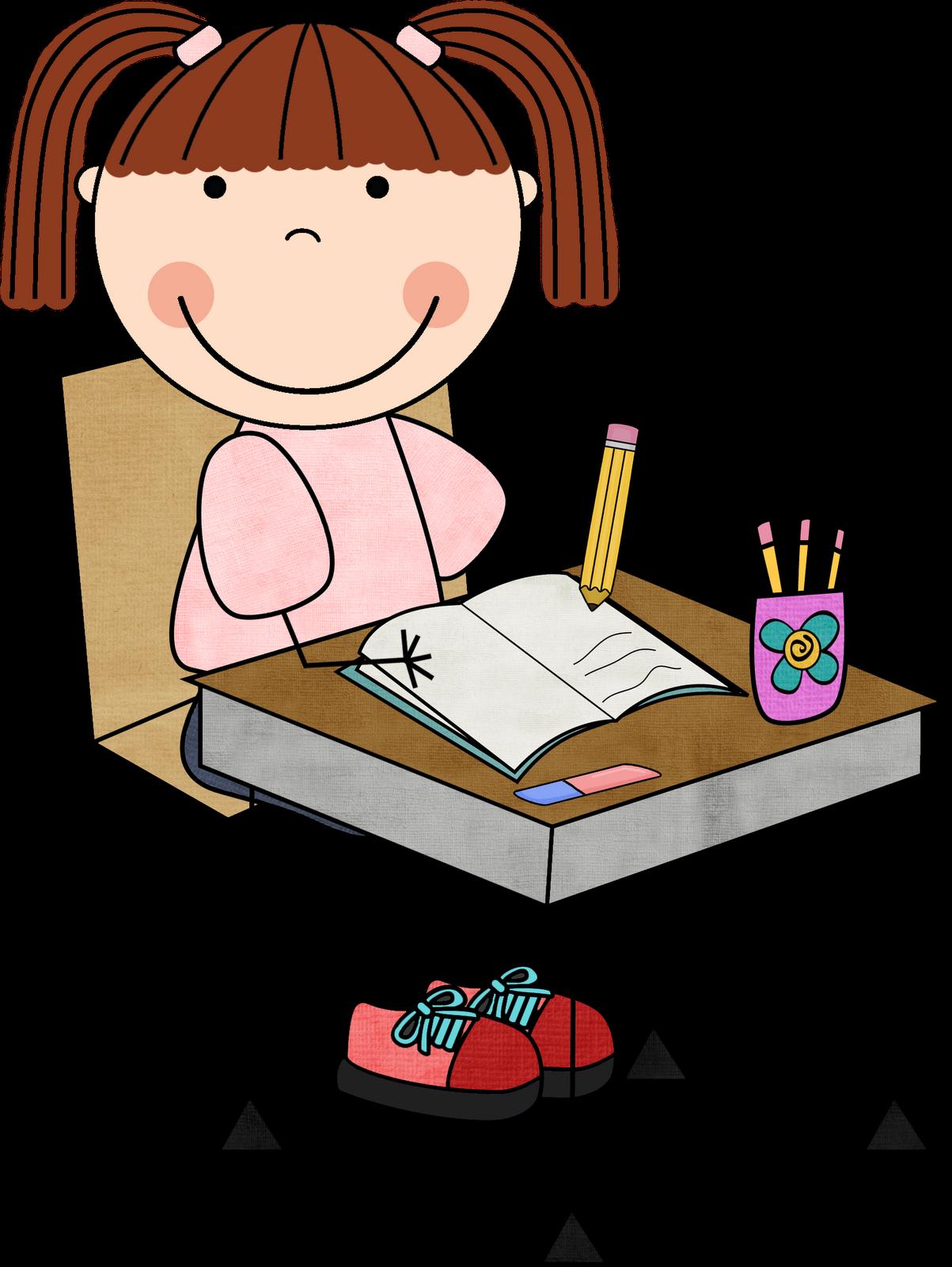 Students At Desk Writing .