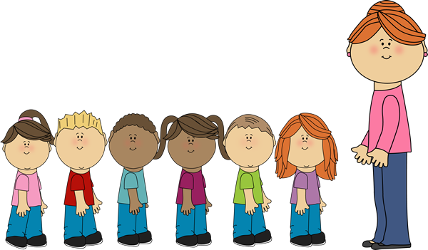 Students in Line with Teacher - Teacher And Students Clipart