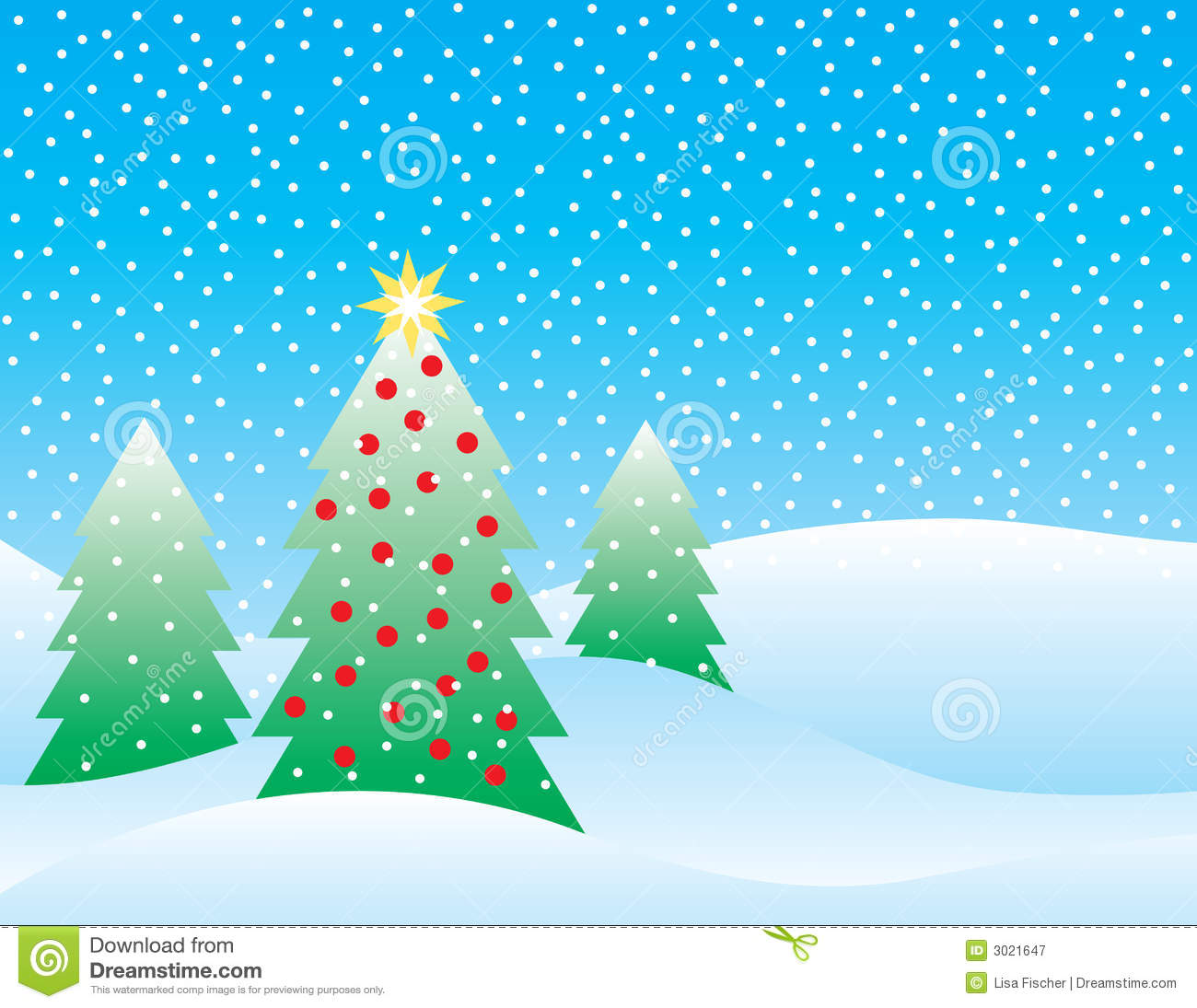 Stylized Illustration Of Three Christmas Trees On A Snowy Background