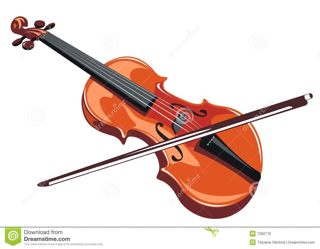 Stylized Violin And Bow Isolated On A White Background