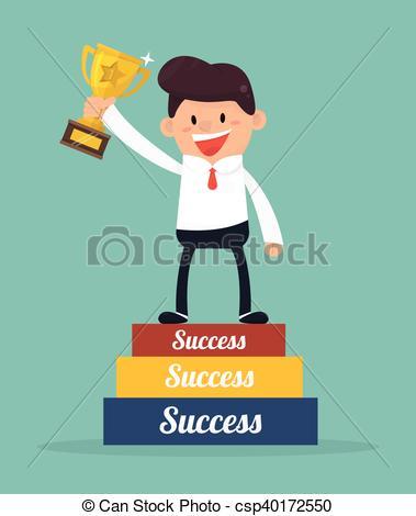 Businessman going up to success - csp40172550