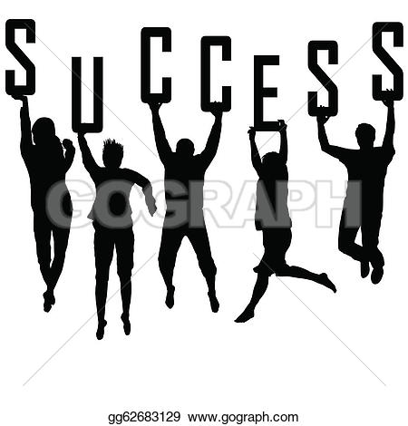 ... Success concept with young team silhouettes