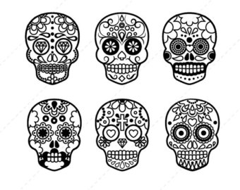 Sugar Skull Clip art, Halloween Digital clipart, Scrapbook Supplies, Mexican, Day of the Dead - Commercial u0026amp; Personal - Instant Download