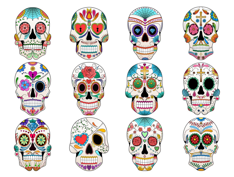 Sugar Skull Clip Art- Set of 12 Colorful Sugar Skulls, PNG, JPG and Vector Files