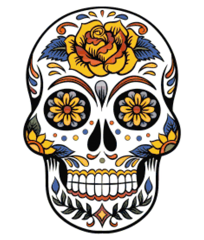 Sugar Skull Clip Art. sugar skull cross on Etsy .