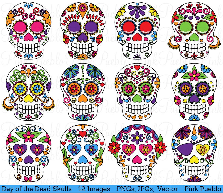 ... Sugar Skulls Clipart Clip Art Vectors -.