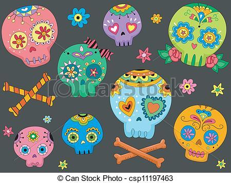 ... Sugar Skulls - Halloween Illustration Featuring Colorful.