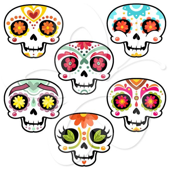 Sugar Skulls Mexican Day of the Dead Clip Art Clipart Set - Personal and Commercial Use