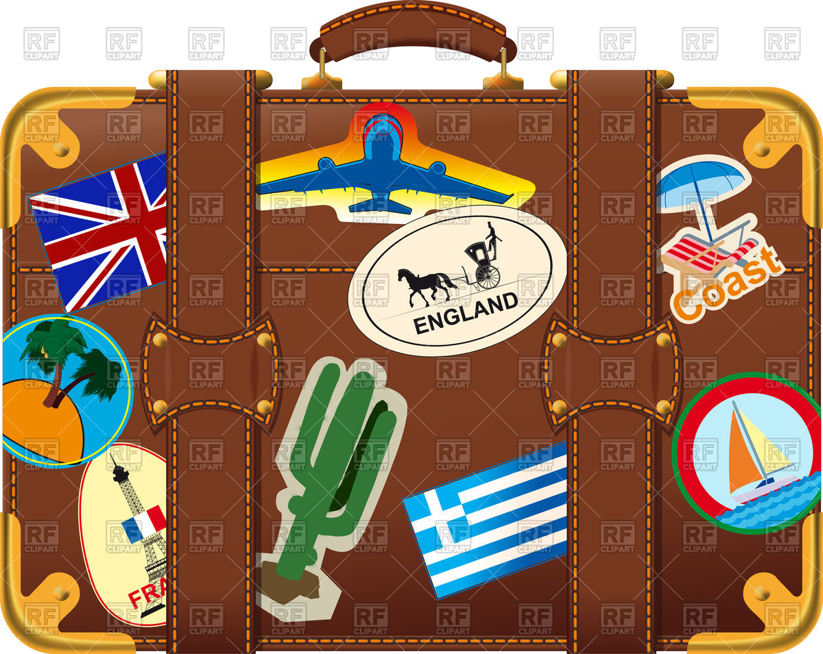 Old fashioned brown suitcase side view Royalty Free Vector Clip Art