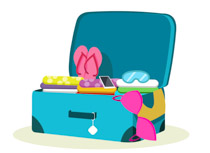 open suitcase of lady for travel clipart. Size: 65 Kb