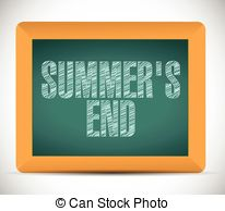 ... summer end message written on a chalkboard. illustration... ...