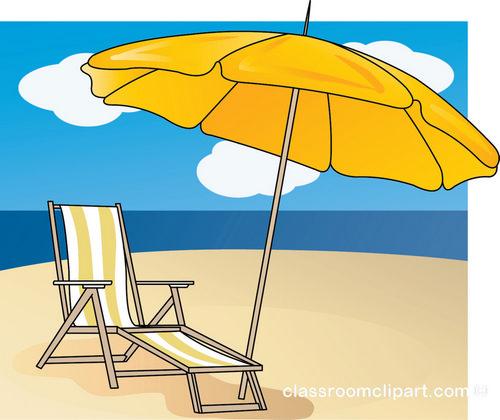 Summer Lounge Chair Umbrella Beach Class-Summer Lounge Chair Umbrella Beach Classroom Clipart-14
