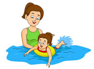 Summer Sports Kid With Airtube In Pool Clipart Size: 105 Kb