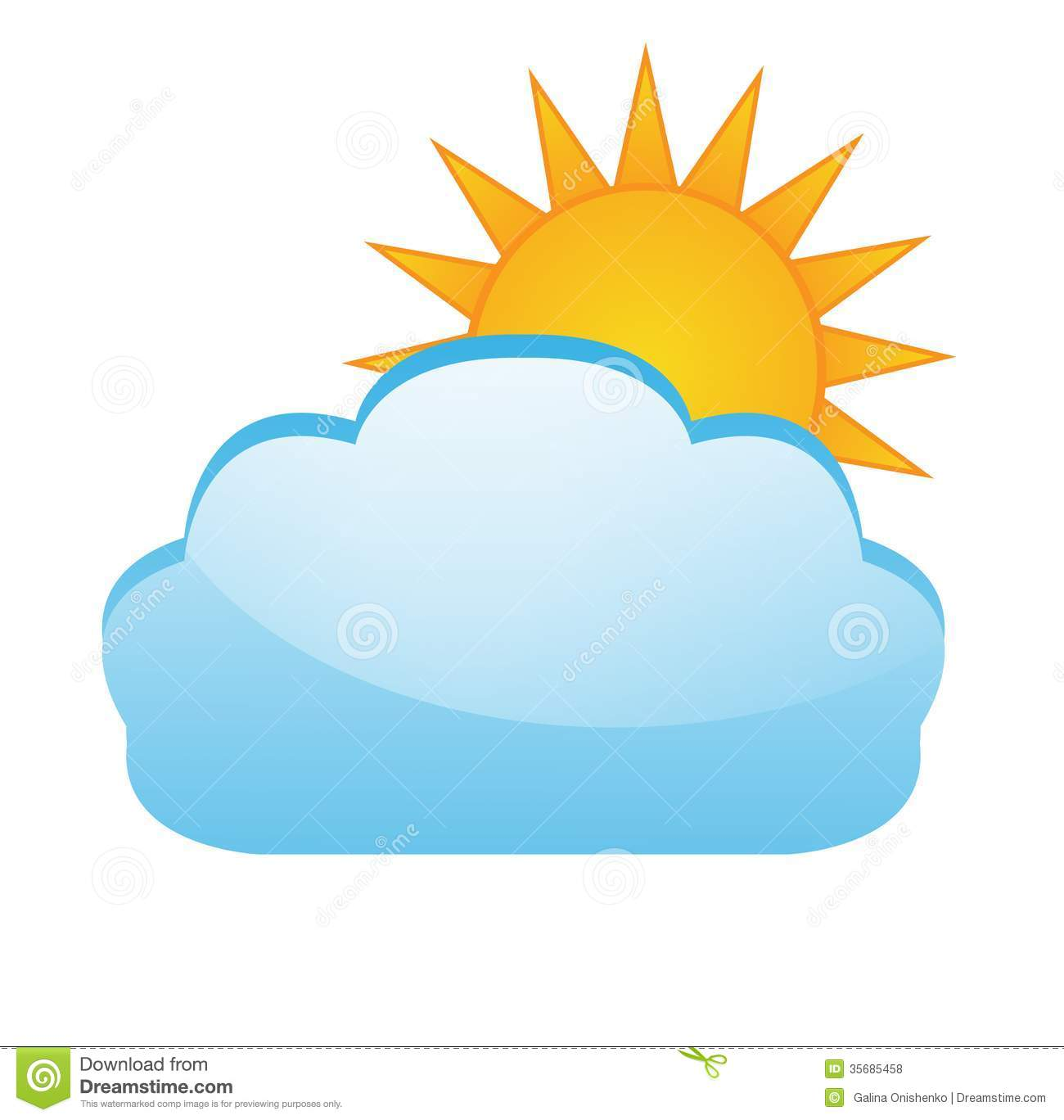Sun After A Cloud On A White Background -Sun After A Cloud On A White Background Illustration-10