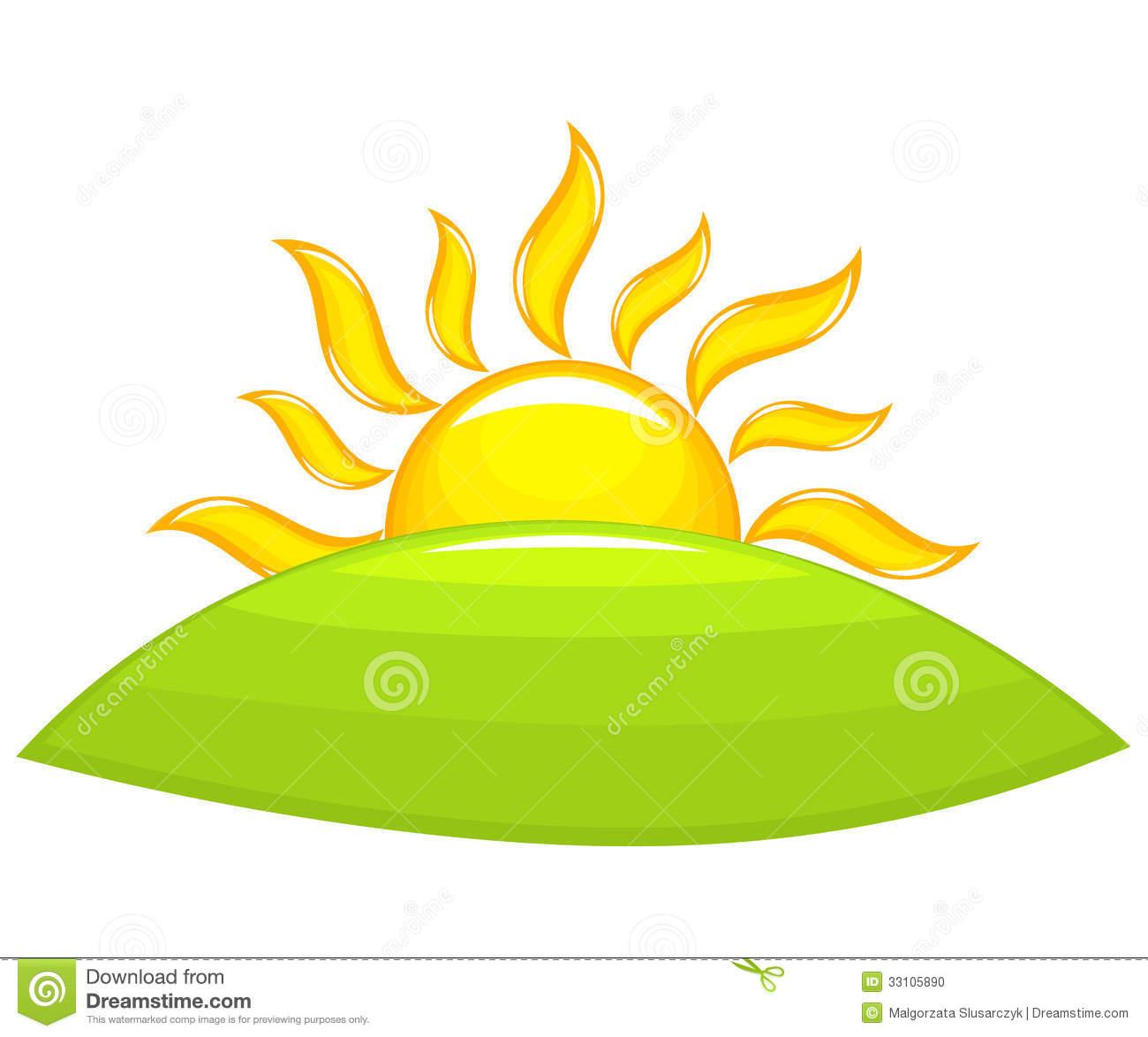 Sun Rising Above The Green Hill Vector I-Sun Rising Above The Green Hill Vector Illustration-13
