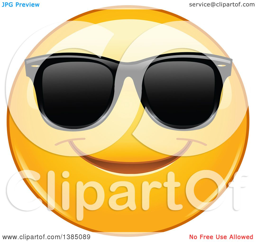 Clipart Of A Yellow Emoji Smiley Face Em-Clipart of a Yellow Emoji Smiley Face Emoticon Wearing Sunglasses - Royalty  Free Vector Illustration by yayayoyo-4