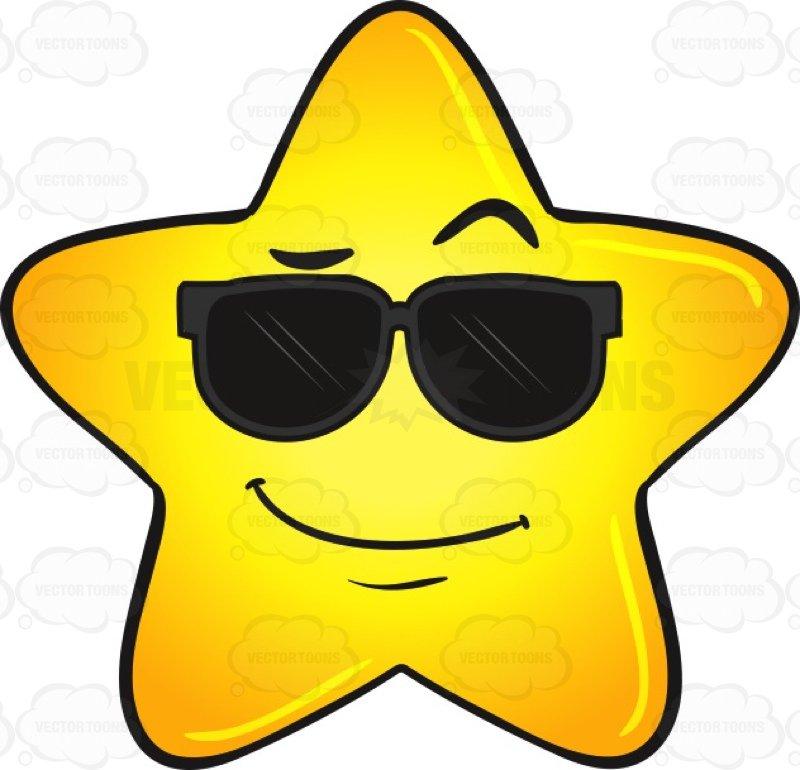 Cool Gold Star Wearing Sunglasses Emoji