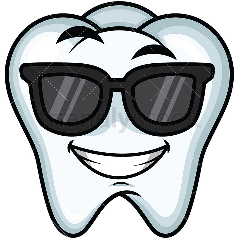 Cool tooth wearing sunglasses emoticon. PNG - JPG and vector EPS file  formats (infinitely