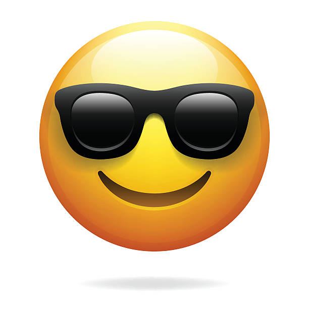 Emoji with sunglasses vector art illustration