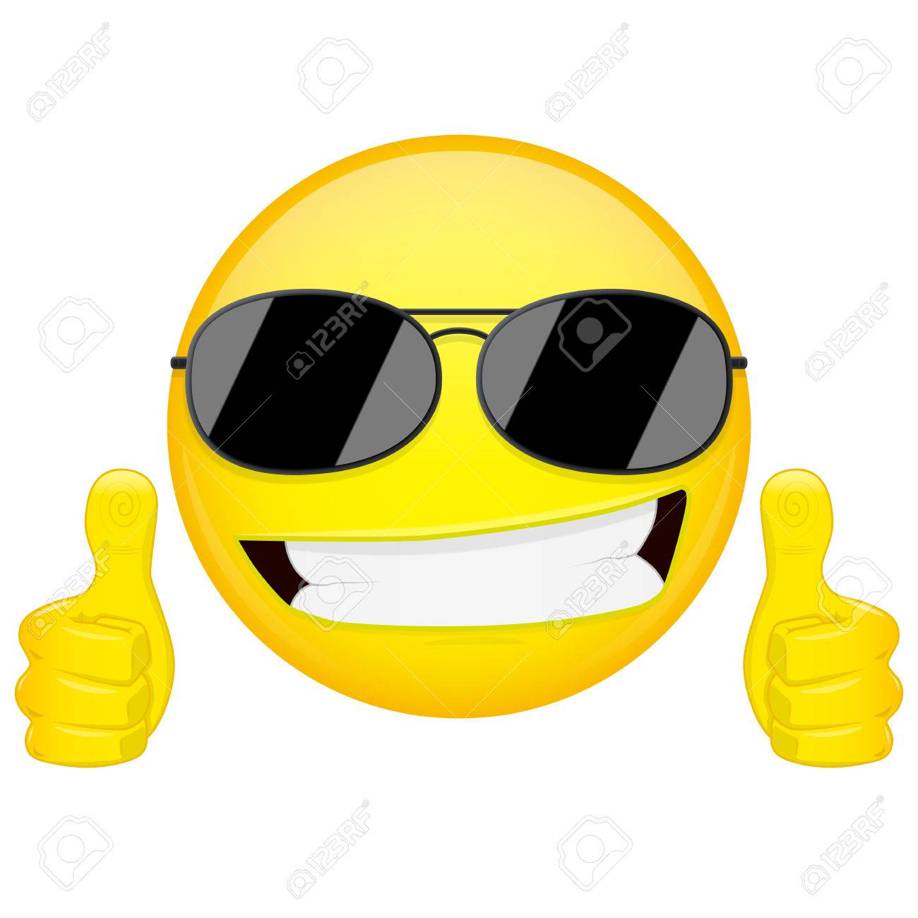 Good idea emoji. Thumbs up emotion. Cool guy with sunglasses emoticon.  Vector illustration